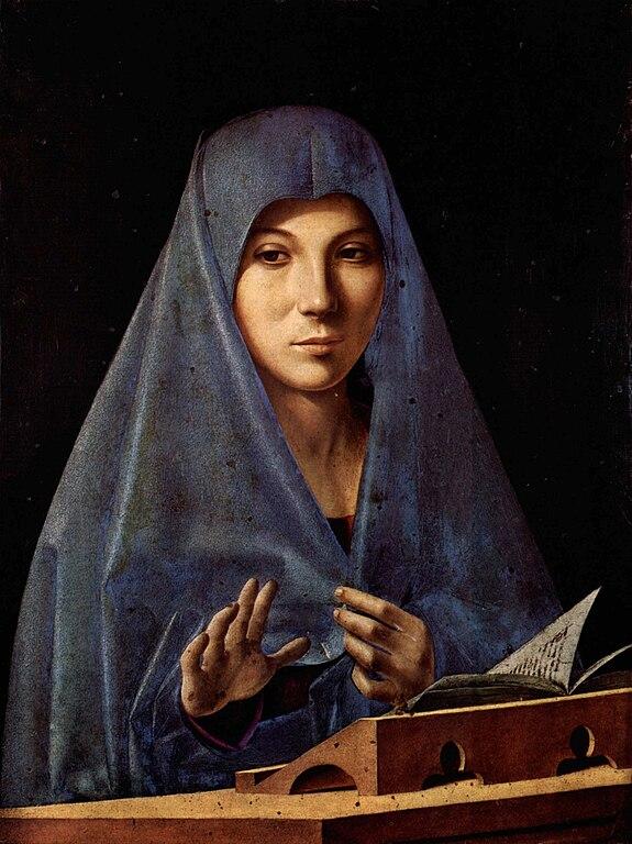"""Tableau """"La Vierge de l'Annonciation"""" par Antonello da Messina au Palazzo Abatellis à Palerme."""