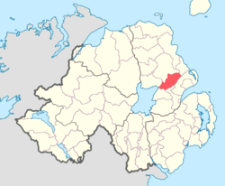 Location of Antrim Upper, County Antrim, Northern Ireland.