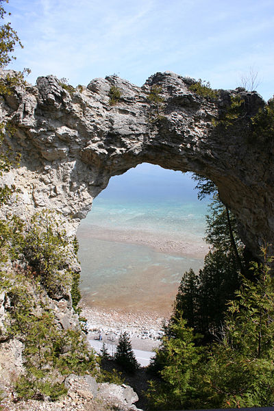 Arch Rock geologic formation on Mackinac Island, Michigan