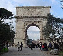 The Arch of Titus, located on the Via Sacra, just to the south-east of the Forum Romanum in Rome.