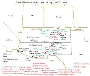 New Mexico Territory in the American Civil War - Image: Arizona Civil War New Mexico