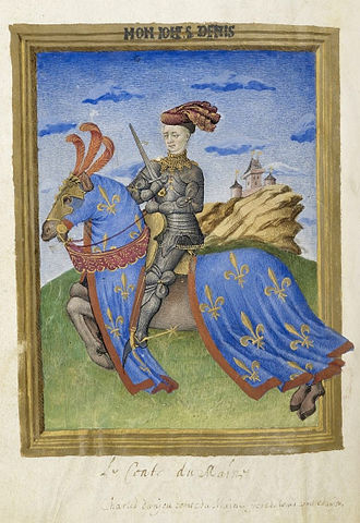 Charles, Count of Maine - Image: Armorial de Gilles le Bouvier BNF Fr 4985 f 75v
