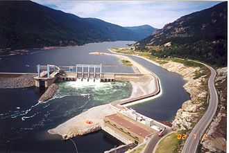 BC Hydro - The Hugh Keenleyside Dam (left) was completed in 1968. The Arrow Lakes Generating Station (right) was added in 2002.