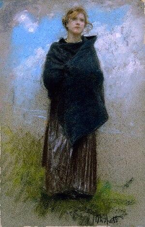 Francesco Paolo Michetti - Shepherdess, c. 1900, pastel on paper