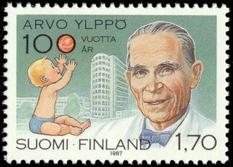 Healthcare in Finland - Arvo Ylppö portrayed on a postage stamp published in 1987.