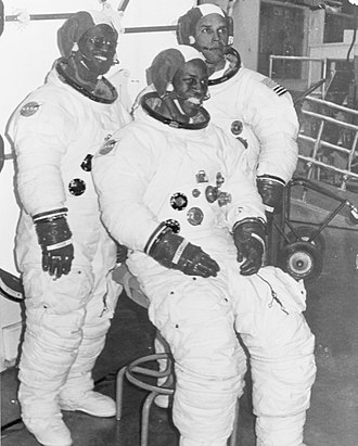 Ronald McNair - Astronaut candidates Ron McNair, Guy Bluford, and Fred Gregory wearing Apollo spacesuits, May 1978