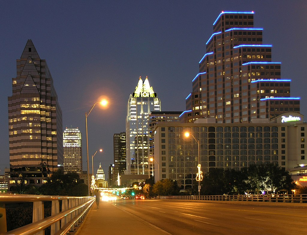 Austin from Congress Bridge-at night