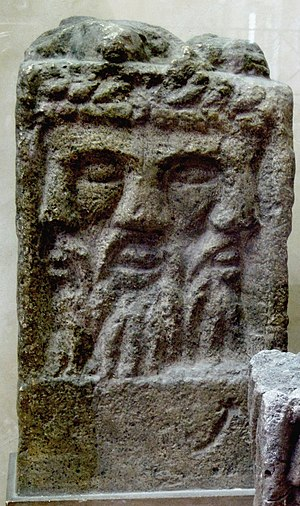 Lughnasadh - An altar depicting a three-faced god identified as Lugh/Lugus