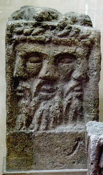 Lugus - Altar depicting a tricephalic god identified as Lugus, discovered in Reims.