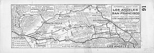 Rincon Parkway - Map of automobile road from Los Angeles to San Francisco via coast route shows Rincon Road.
