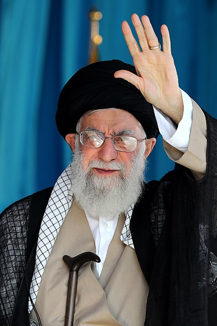 Khamenei at a public speech Ayatollah Ali Khamenei at the Great Conference of Basij members at Azadi stadium October 2018 012.jpg
