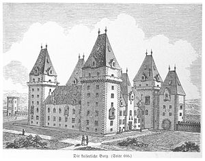 Hofburg - Reconstructive drawing of the appearance of the castle until the 16th century