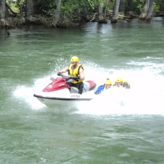 Swift water rescue - A swift water rescue drill on the Boise River, here running fast, cold and high with late spring snow melt; an unprotected human being can only retain consciousness for roughly two minutes in such cold water before succumbing to hypothermia and losing consciousness.