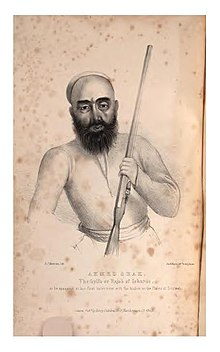 Drawing of a bearded man holding a rifle