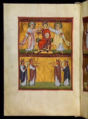 Drapery - Image: Bamberg Apocalypse 03Coronation Of Emperor