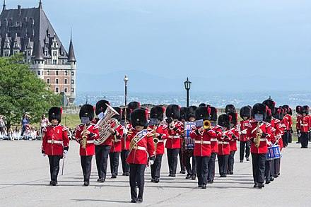 The band of the Royal 22nd Regiment at the Citadelle of Quebec, in 2018. The band is one of 59 bands in the Canadian Armed Forces. Band of the Royal 22nd Regiment.jpeg