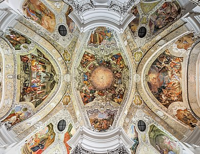 Ceiling fresco in the former abbey church St. Peter and Dionysius Koster Banz created by Melchior Steidl about 1715