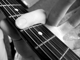 Barre chord - The index finger locates the root note in the chord shape.