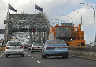 Barrier transfer machine - This large machine was used on the Auckland Harbour Bridge to shift the center lane back and forth to accommodate rush hour traffic.