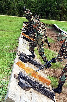 Soldiers training how to use bayonets