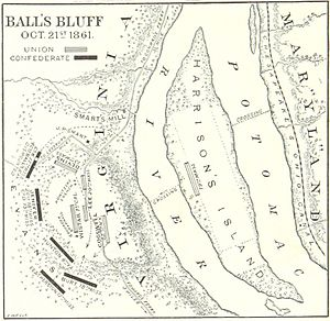 Battle of Ball's Bluff - A map of the battle