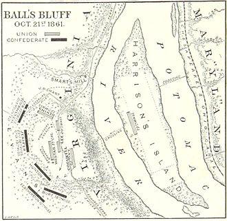 Battle of Ball's Bluff - A map of the battle