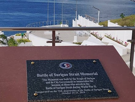 The Battle of Surigao Strait Memorial in Surigao City, Philippines. Battle of Surigao Strait Plaque.jpg