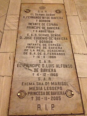 Prince Ferdinand of Bavaria - Tomb of Prince Ferdinand with members of his family in the crypt of the Almudena Cathedral
