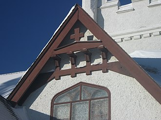 St. Mary & St. George Anglican Church - Beams, trim, and bargeboard over the southwest window