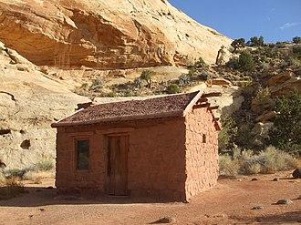 National Register of Historic Places listings in Wayne County, Utah - Image: Behunin Cabin Capitol Reef NP