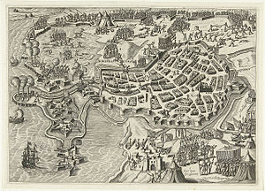 Siege of Bergen op Zoom (1588) - Image: Beleg van Bergen op Zoom (1588) door Parma Siege of Bergen op Zoom in 1588 by Alexander Farnese, Duke of Parma (Bartholomeus Willemsz. Dolendo)