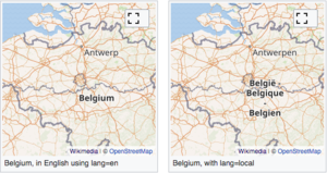 "Maps of Bellgium with a specified language (English, at left) versus with lang=""local"". The localized version respects the fact that some Belgian names are actually entered into OSM's local ""name"" field in multiple languages."