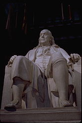 Memorial marble statue of Ben Franklin