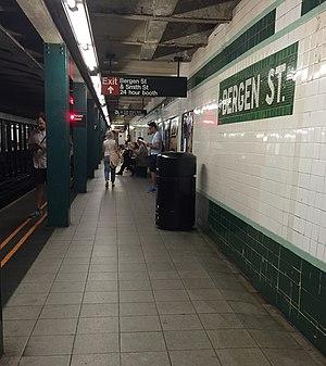 Bergen Street (IND Culver Line) - A view of the Manhattan/Queens-bound platform at Bergen Street.