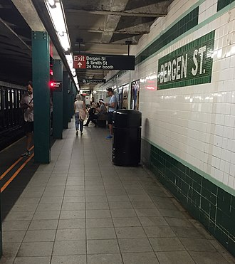 Bergen Street (IND Culver Line) - A view of the Manhattan/Queens-bound platform at Bergen Street.