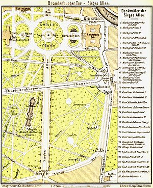 Platz der Republik (Berlin) - Map of the Königsplatz and Siegesallee, 1902