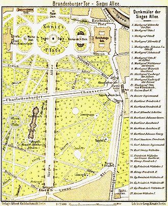 Platz der Republik (Berlin) - Map of the Königsplatz and Siegesallee, 1902