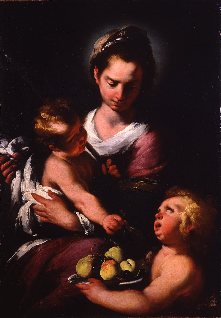 the virgin and child with the In her hand, mary holds a pear, one of the fruits of paradise, which presents her  as the new eve the christ child sits on her knees and plays.