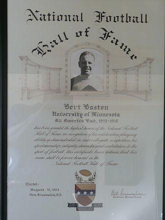Bert Baston - Bert Baston, National Football Hall of Fame, induction award