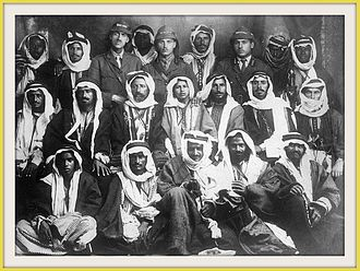 Howeitat - Sheikh Auda Abu Tayi and men of his tribe with a group of officers of the Arab Army in 1916.
