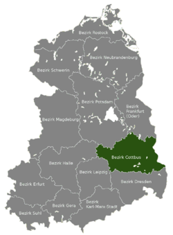 Location of Bezirk Cottbus within the German Democratic Republic