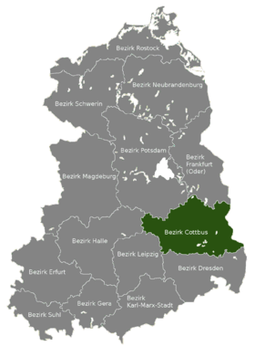 Carte de localisation du district de Cottbus