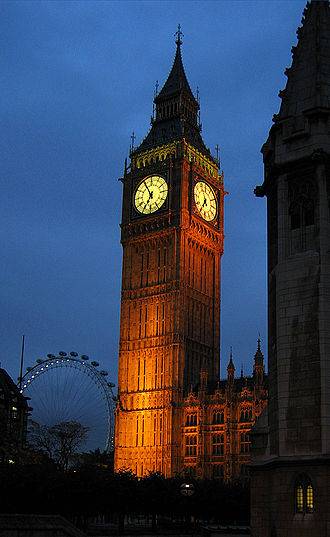 Electrodeless lamp - The London landmark Big Ben. The clock face is lit by Electrodeless lamps.