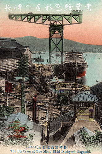 Mitsubishi Heavy Industries - The Big Cranes at The Mitsubishi Dockyard Nagasaki, Meiji Period