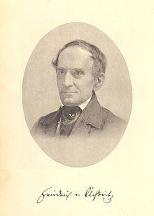 Lithografie des Friedrich von Uechtritz mit Unterschrift desselben (Quelle: Wikimedia)