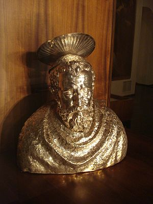 "Pope Sixtus I - Reliquary of the Pope, made in 1596, exhibited at The Permanent Ecclesiastical Art Exhibition ""The Gold and Silver of Zadar"" in the St. Mary's Church, Zadar, Croatia"