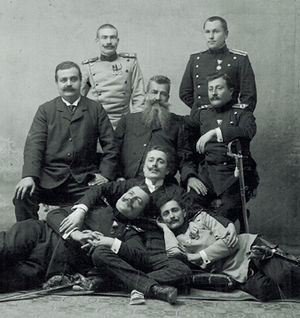 Vojislav Tankosić - Some of the members of the Black Hand, Apis and Tankosić seen lying down.