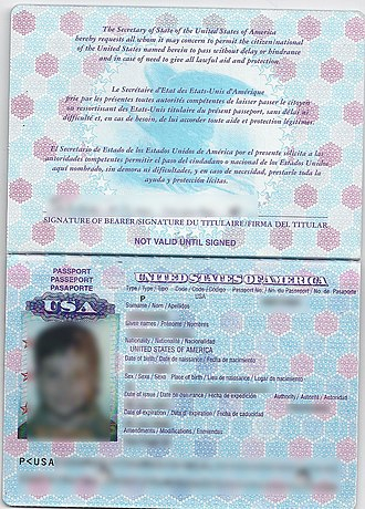 United States passport - Non-biometric United States passport (pre-2007).