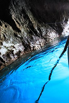 Sky-blue waters of the Blue Grotto in Capri