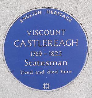 Robert Stewart, Viscount Castlereagh - Blue plaque along the North Cray Road